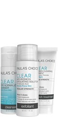 3-step CLEAR Travel Kit with Cleanser, Anti-Redness Exfoliant and Daily Skin Clearing Treatment.