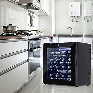 16 Bottles Thermal Electric Wine Cooler Refrigerator Cellar Bar Wine Rack