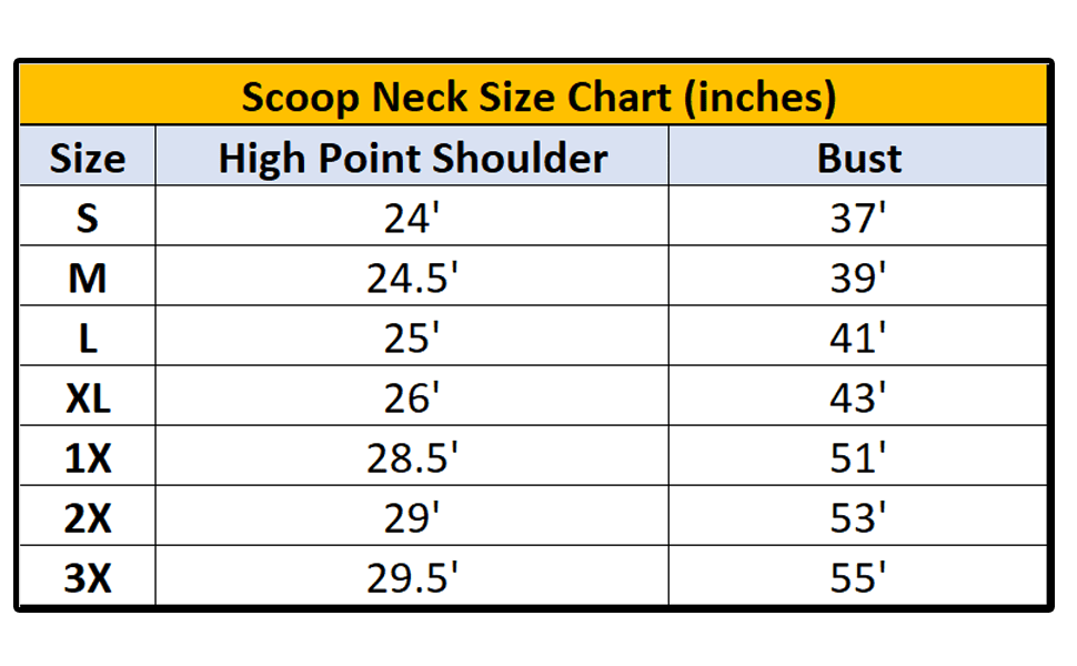 Scoop Neck Sizing Chart Size - High point shoulder - Bust - in Inches