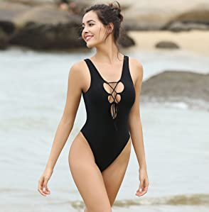 SHEKINI Women One Piece Swimsuits Monokini Lace-up V Neck U Back High Cut Bathing Suits