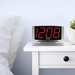 SPC033 Silver Swivel bedside nightstand simple no-frills clock