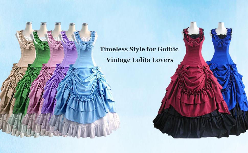 Partiss Women's Sleeveless Bowknot BallGown Gothic Dress
