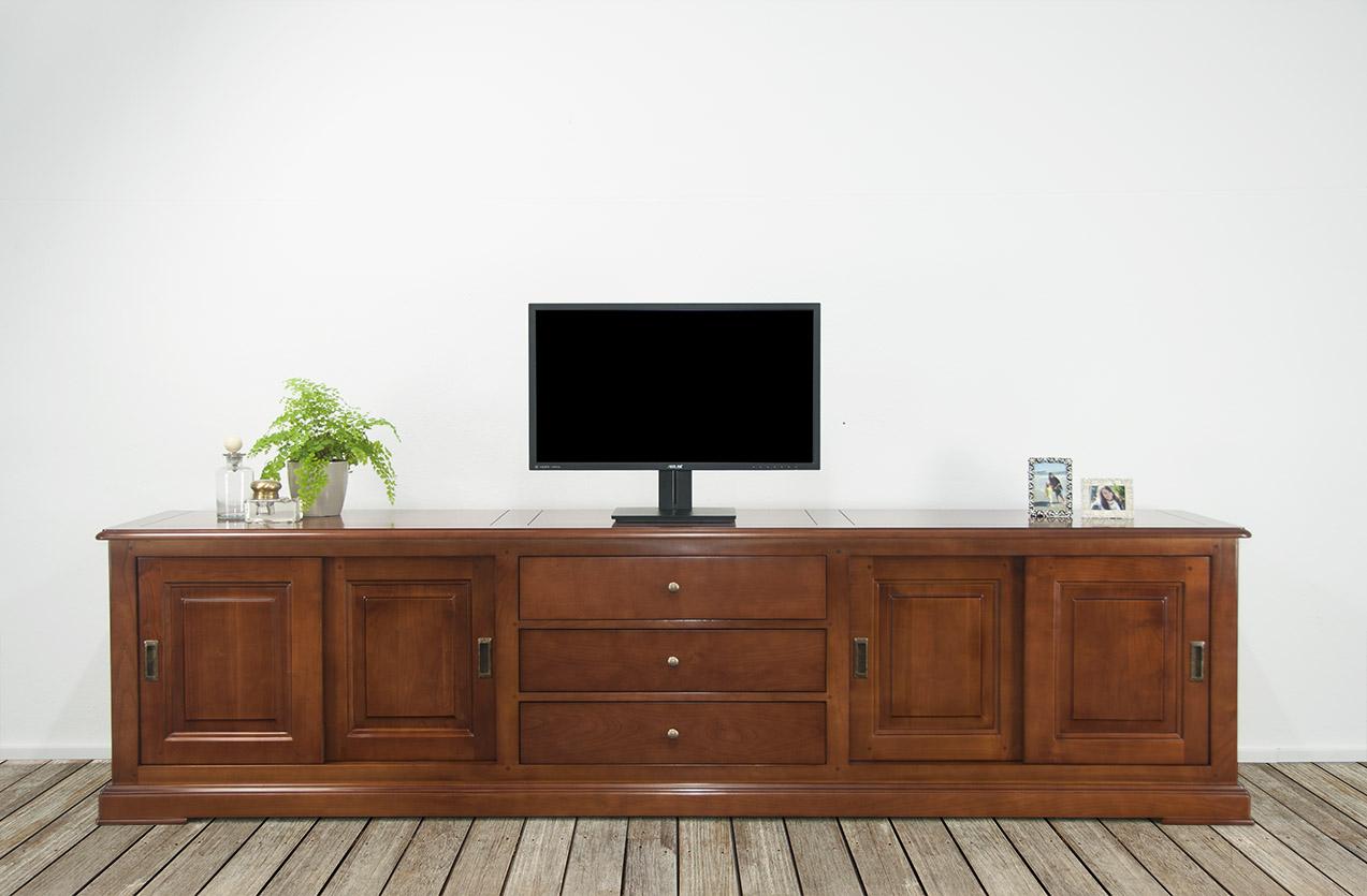 meuble tv 16 9eme lise en merisier massif de style louis philippe 4 portes 3 tiroirs