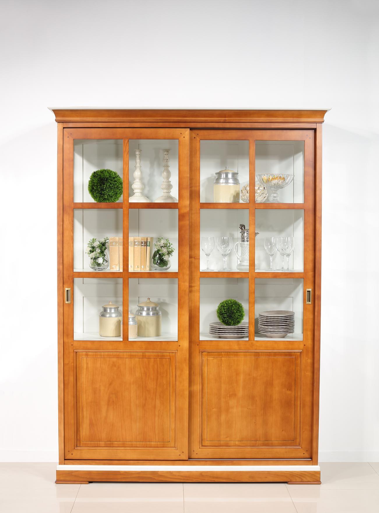 bibliotheque portes coulissantes realisee en merisier massif de style directoire seulement 1 disponible
