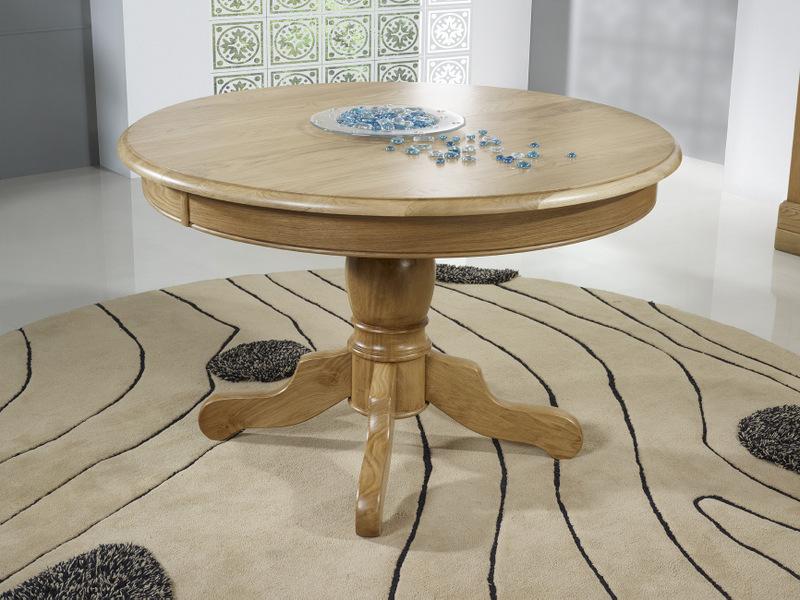 table ronde pied central marc antoine realisee en chene massif de style louis philippe diametre 120 avec 5 allonges de 40 cm