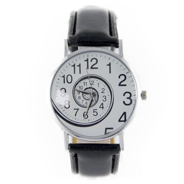 montre femme pas cher tourbillon originale bracelet cuir synthetique noir
