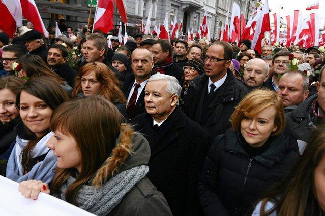 """Jarosław Kaczyński na """"Marszu w Obronie Demokracji i Wolności Mediów""""."""