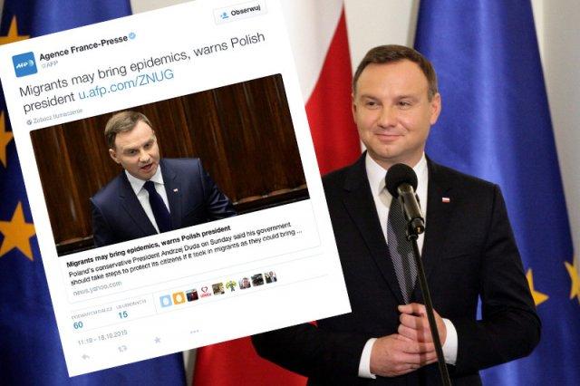 W świat poszły słowa prezydenta Andrzeja Dudy o tym, iż nie dziwią go obawy Jarosława Kaczyńskiego, że migranci mogą przynieśćepidemie.