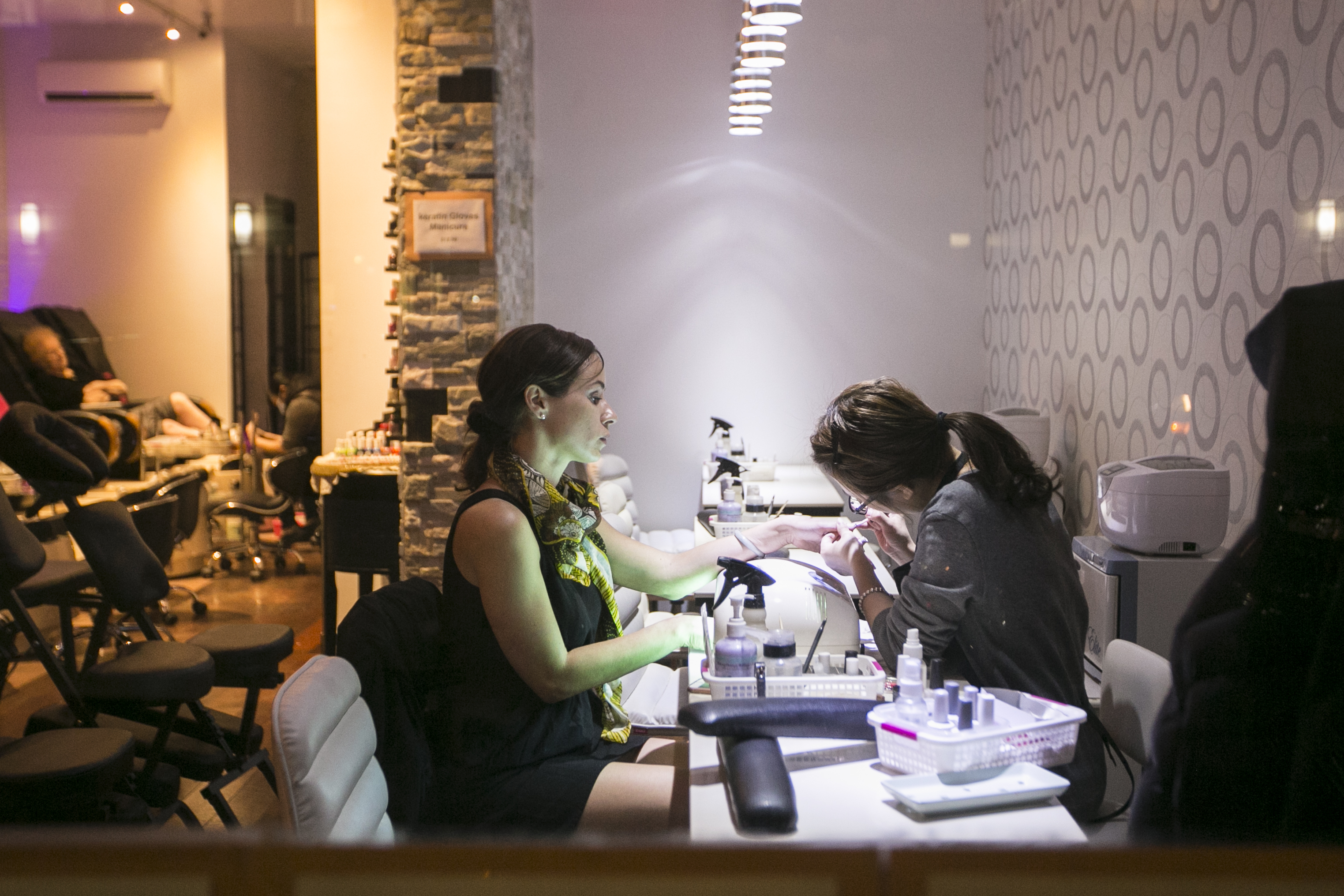 A Woman Gets Her Nails Done At Nail Salon In New York On March