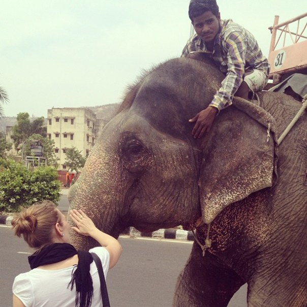 @annikaweber meeting an elephant.