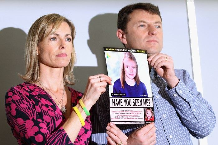 """LONDON, ENGLAND - MAY 02:  Kate and Gerry McCann hold an age-progressed police image of their daughter during a news conference to mark the 5th anniversary of the disappearance of Madeleine McCann, on May 2, 2012 in London, England. The McCann's today stated that there is """"no doubt"""" that authorities will re-open the investigation into their daughter's disappearance. Three-year-old Madeleine went missing while on holiday with her parents in the Algarve region of Portugal in May 2007.  (Photo by Dan Kitwood/Getty Images)"""