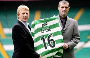 Roy Keane's unveiled as a Celtic player alongside manager Gordon Strachan