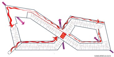 Preliminary mapping studies of movement, 8 House, BIG architects