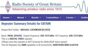 Digital Mobile Radio - GB7MR colour code 2 shown on www.ukrepeater.net