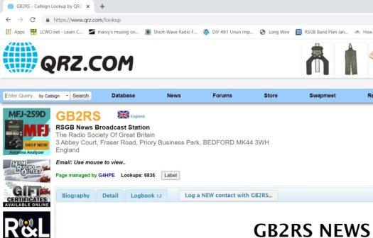 qrz.com showing details of GB2RS