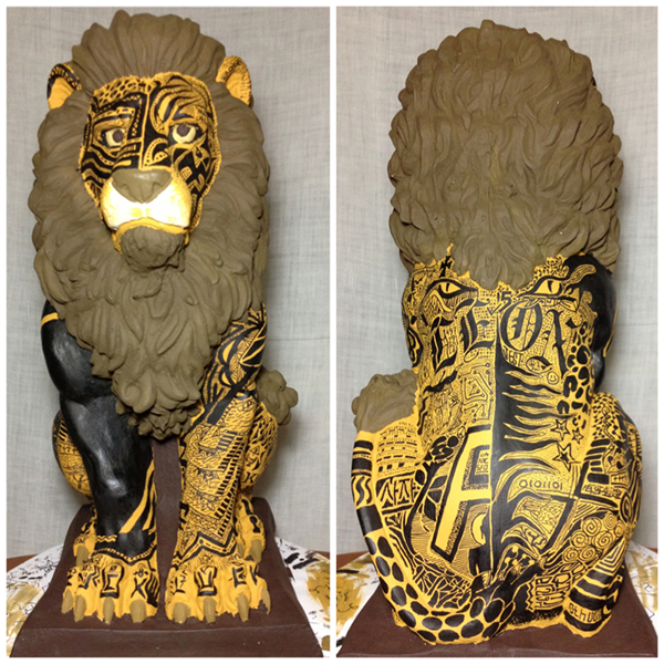 lion front and back