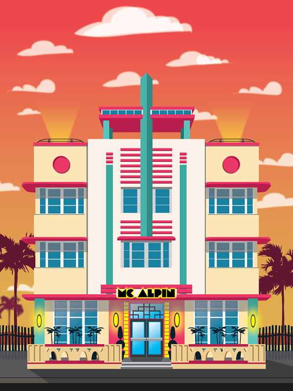 Art Deco Miami Hotel Illustrations On Behance