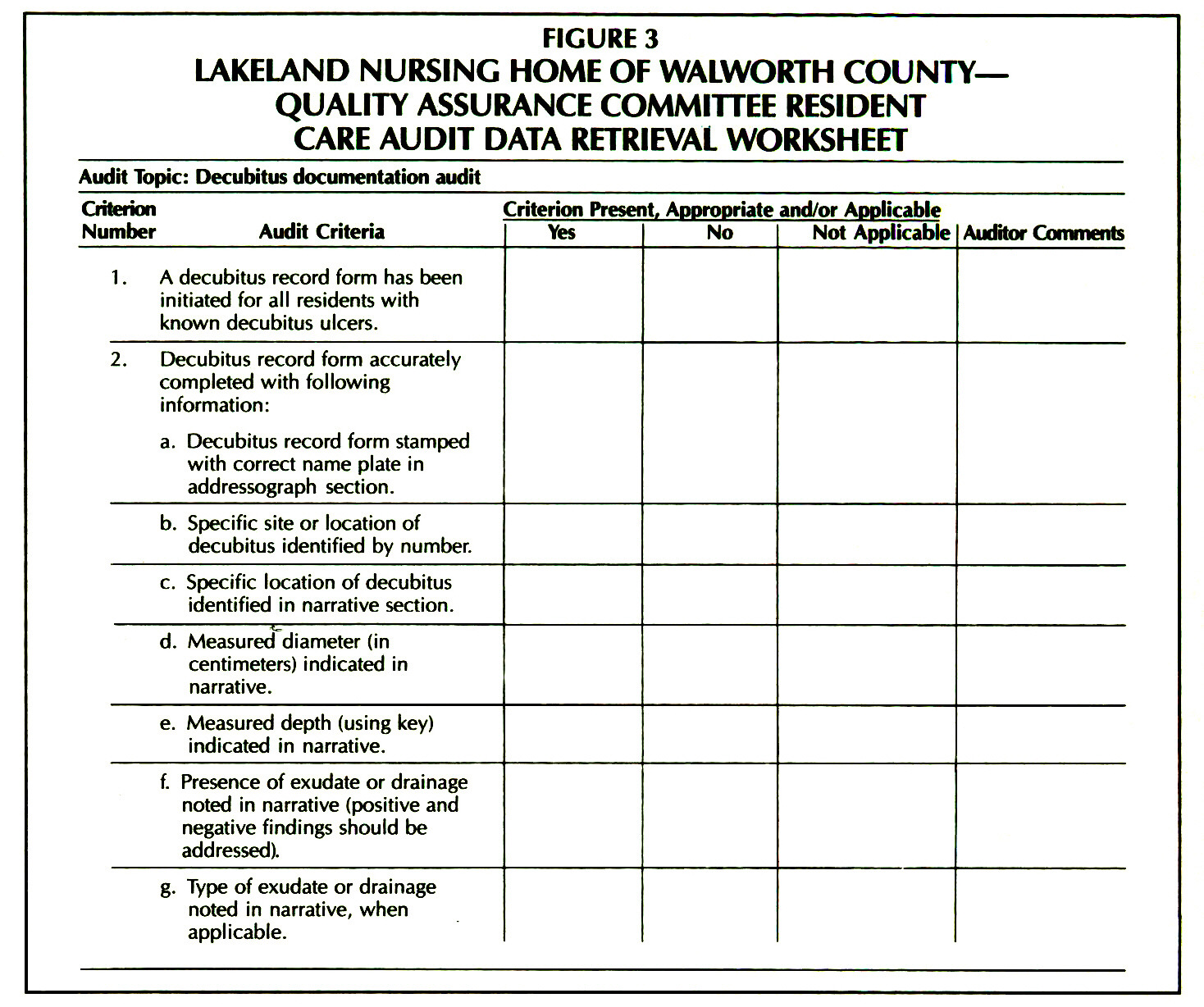 Chart Audit Worksheet
