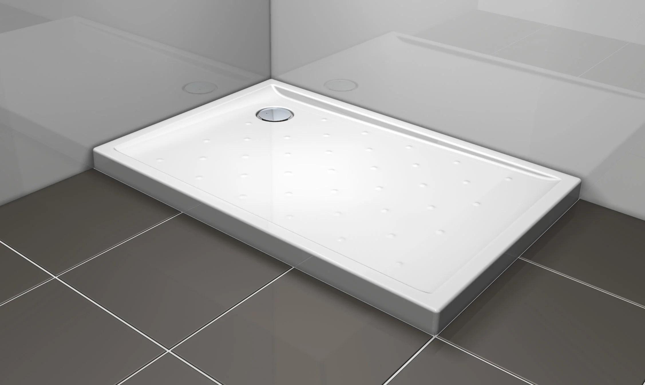 receveur de douche rectangulaire l 120 x l 80 cm gres blanc asca2