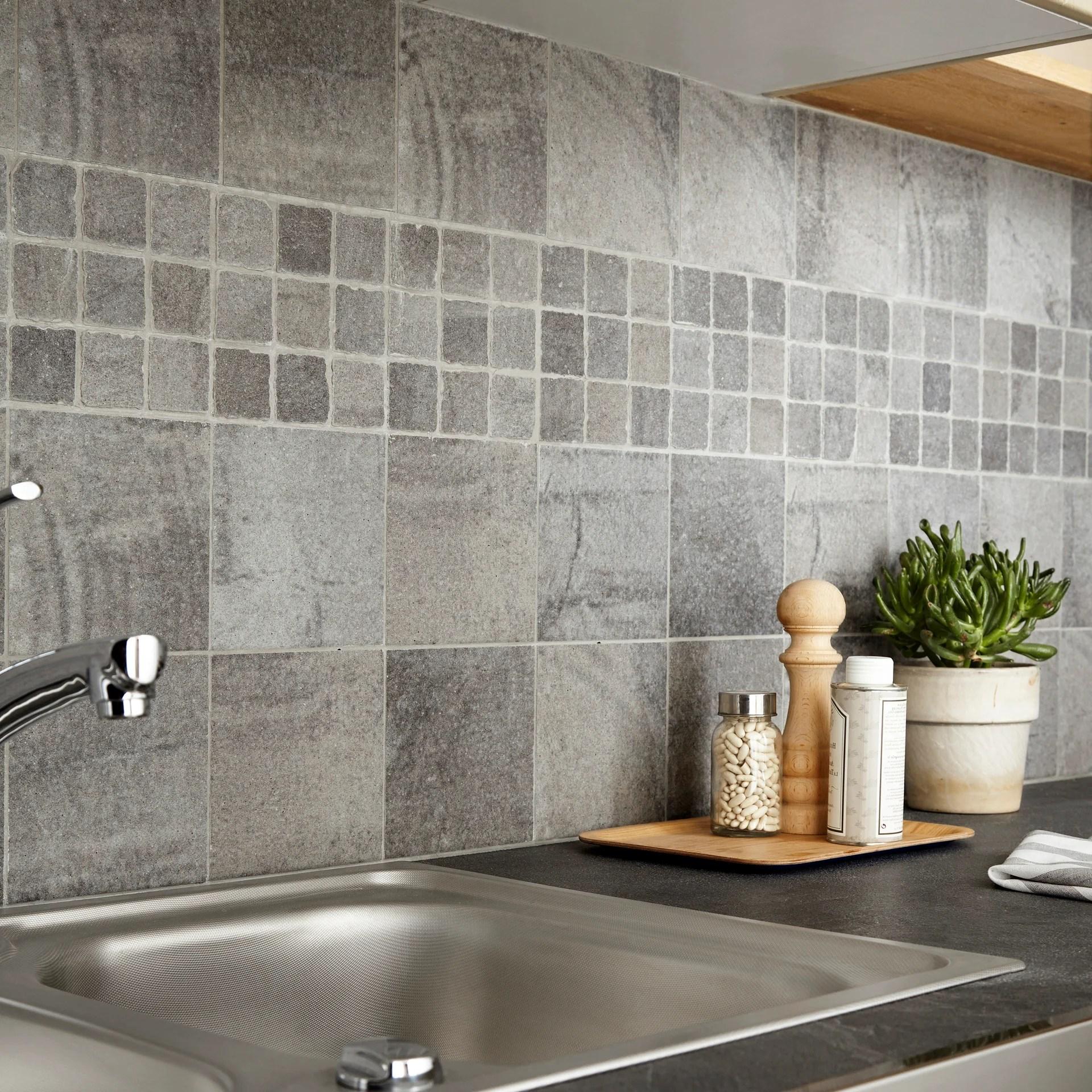 carrelage mur et sol forte pierre gris brillant l 15 x l 15 cm vestige