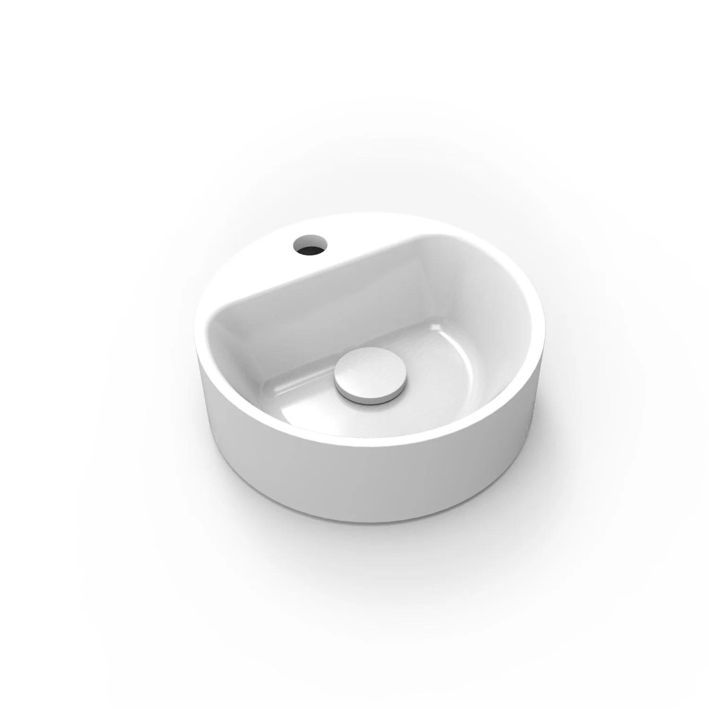 lave mains resine rond blanc l 30 x p 30 cm smart