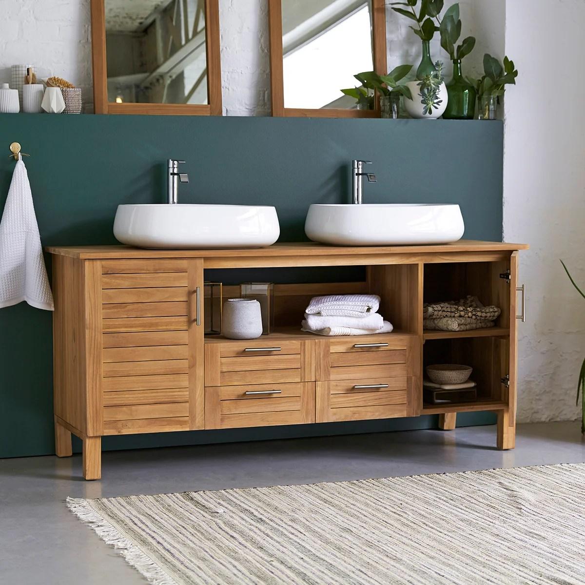 meuble de salle de bains double vasque l 165 x h 75 x p 55 cm teck soho leroy merlin