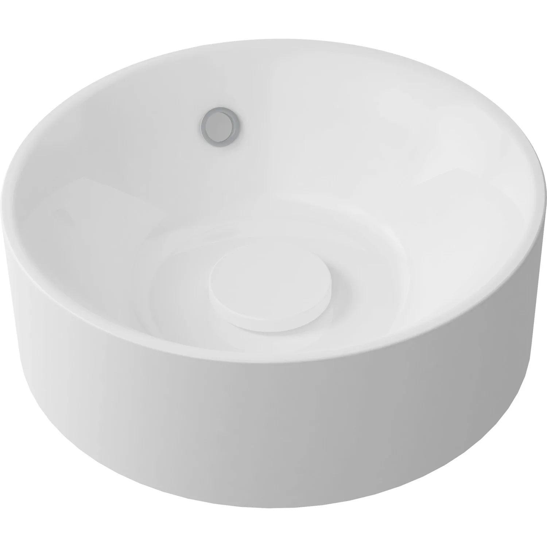 Vasque A Poser Resine Rond De Synthese Diam 38 Cm Blanc Capsule Leroy Merlin