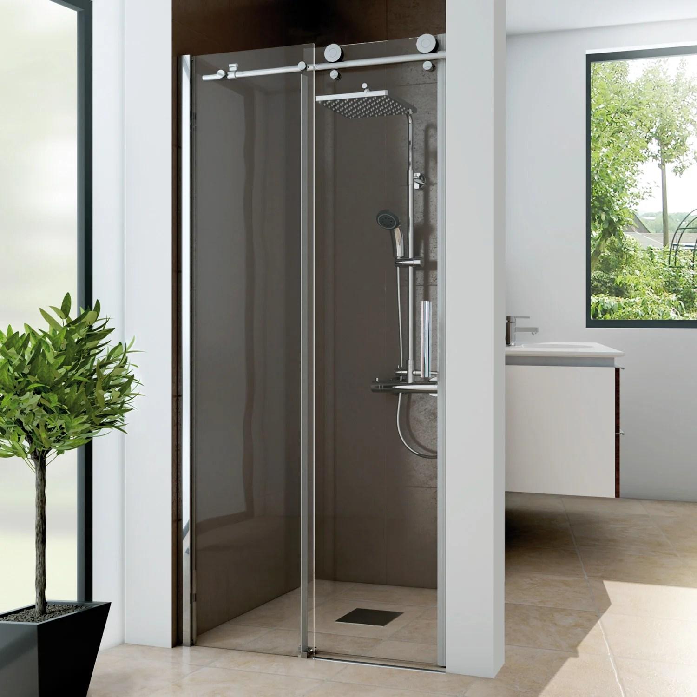 porte de douche coulissante transparent chrome 120 cm panorama