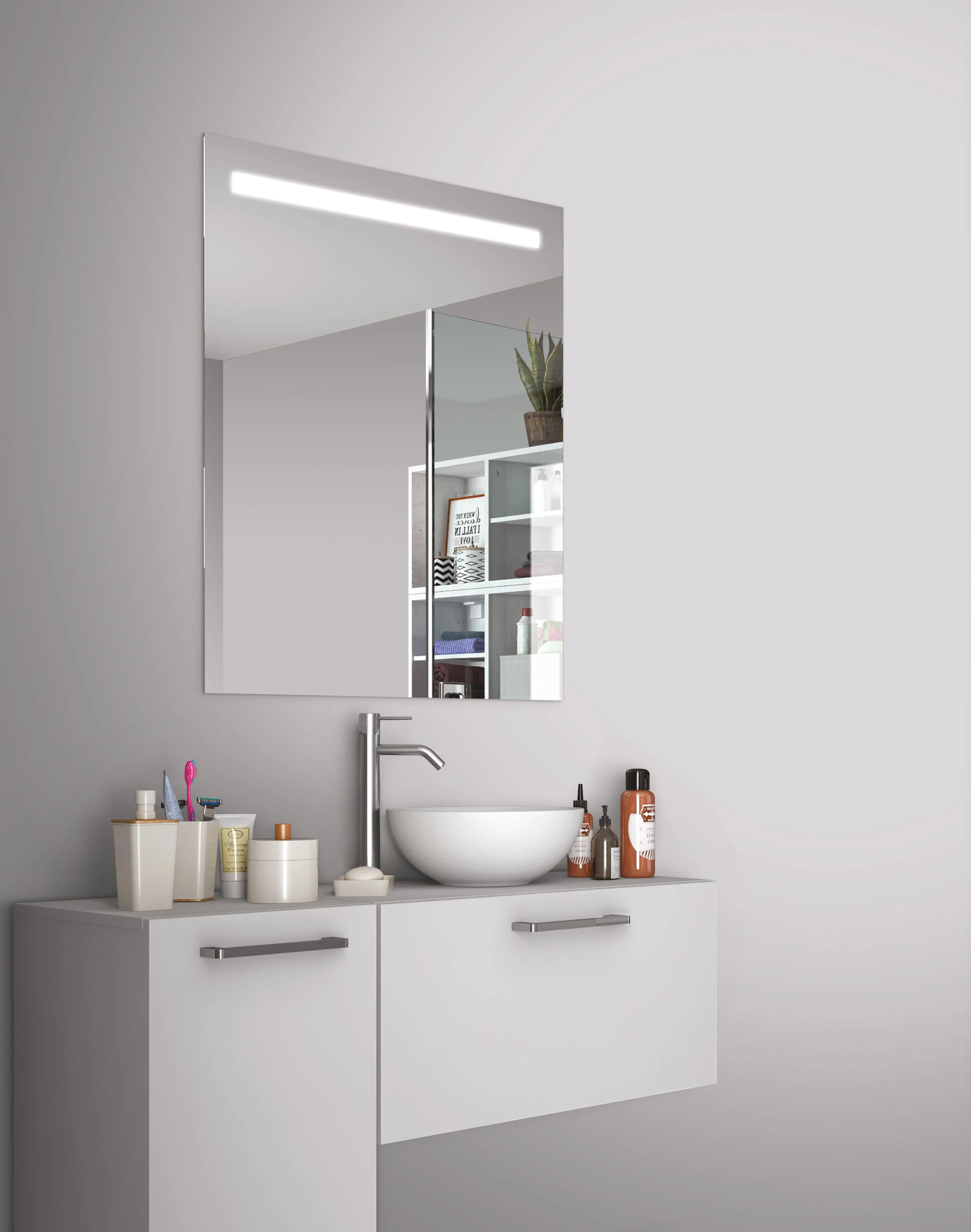 miroir lumineux avec eclairage integre l 80 x h 70 cm essential