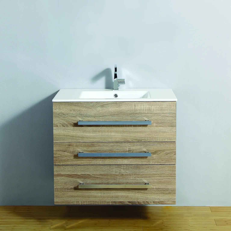 meuble salle de bains 2 pieces senso l 80 x h 68 x p 50 cm bois clair senso leroy merlin