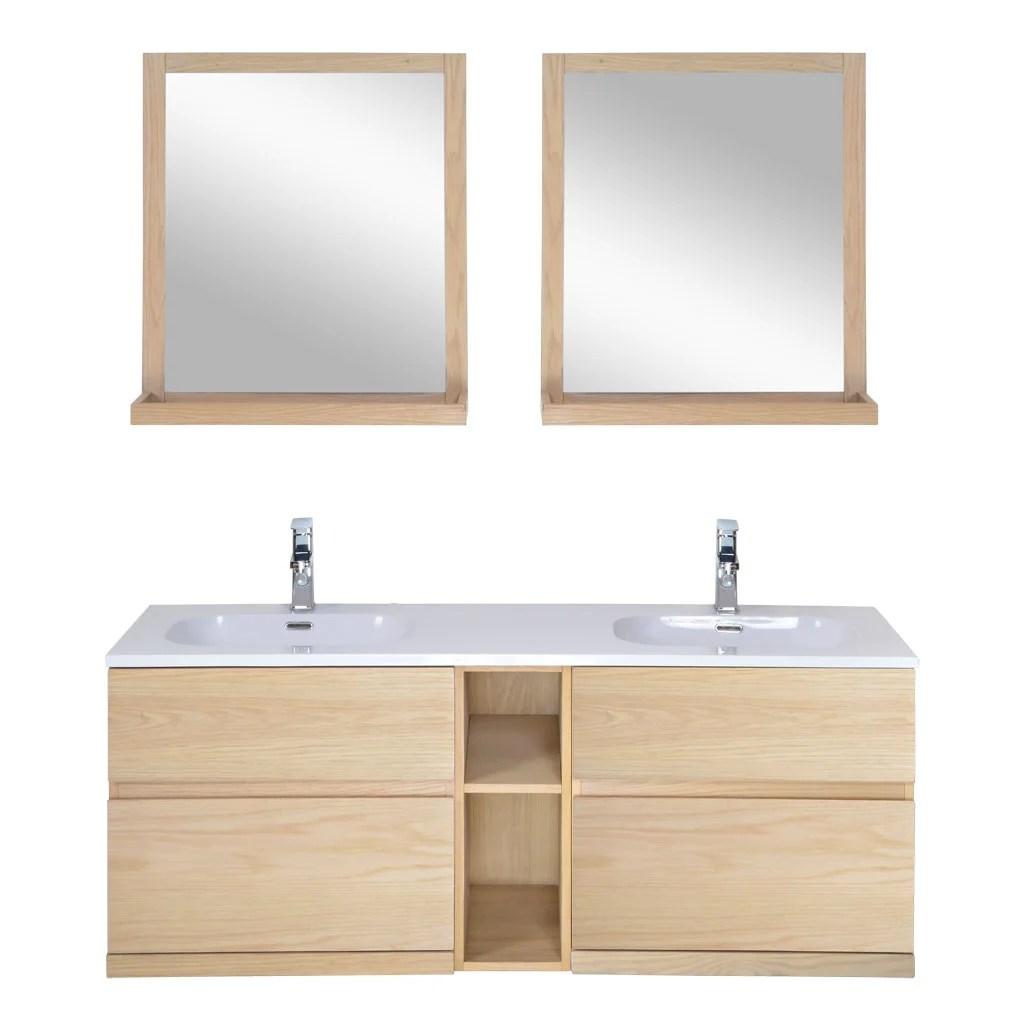 meuble salle de bains 4 pieces enio l 140 x h 60 x p 46 cm effet chene enio