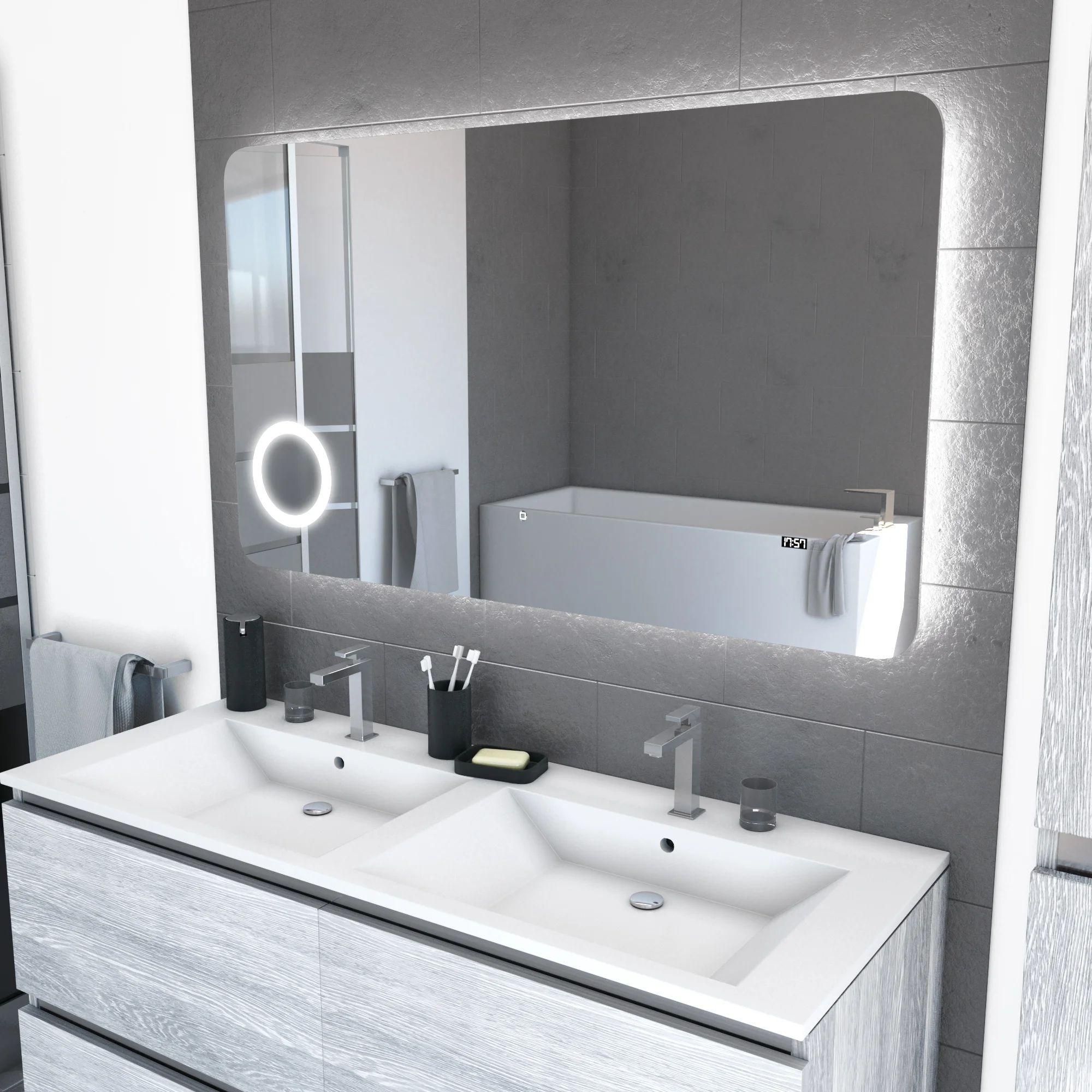 Miroir Lumineux Avec Eclairage Integre L 120 X H 70 Cm Silver Shadow Leroy Merlin