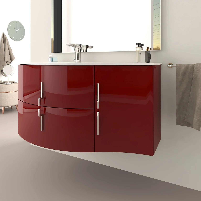 Meuble Simple Vasque L 104 X H 55 Rouge Sting Leroy Merlin