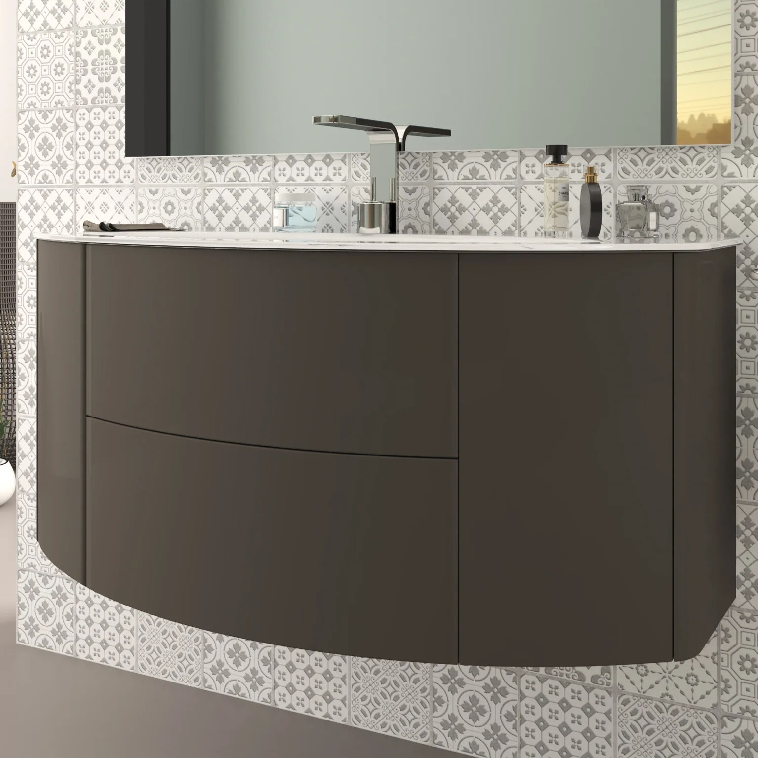 meuble simple vasque l 120 x h 55 gris taupe mat doriane