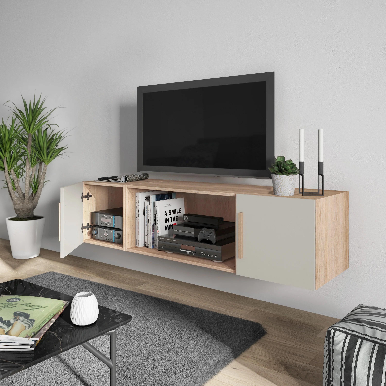 meuble tv gris chene h 40 x l 160 x p 45 cm home