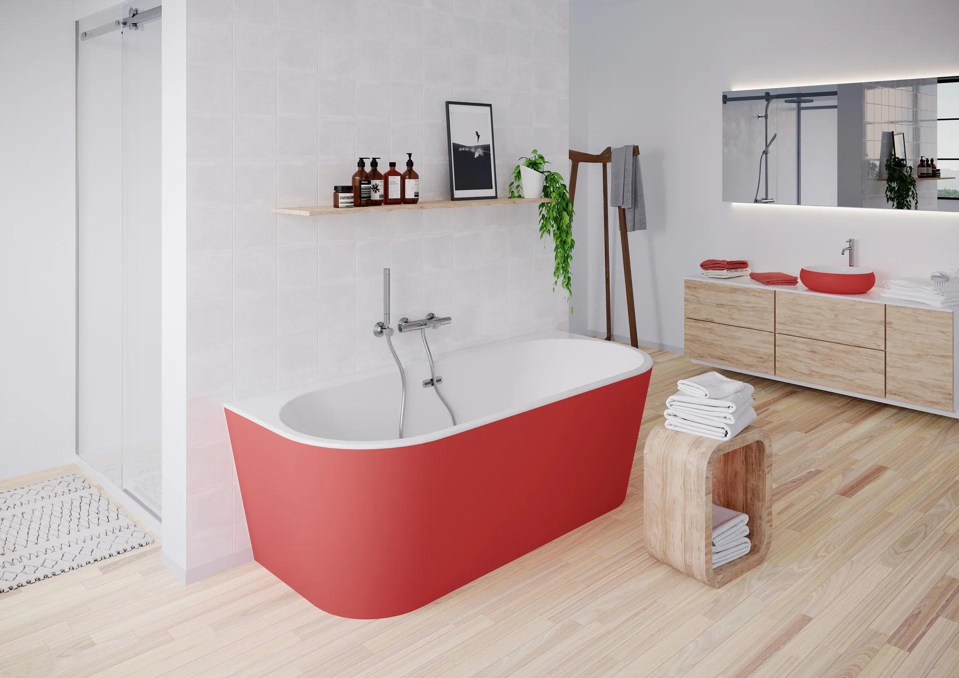 baignoire semi ilot l 80 x l 180 cm rouge ilova balneo