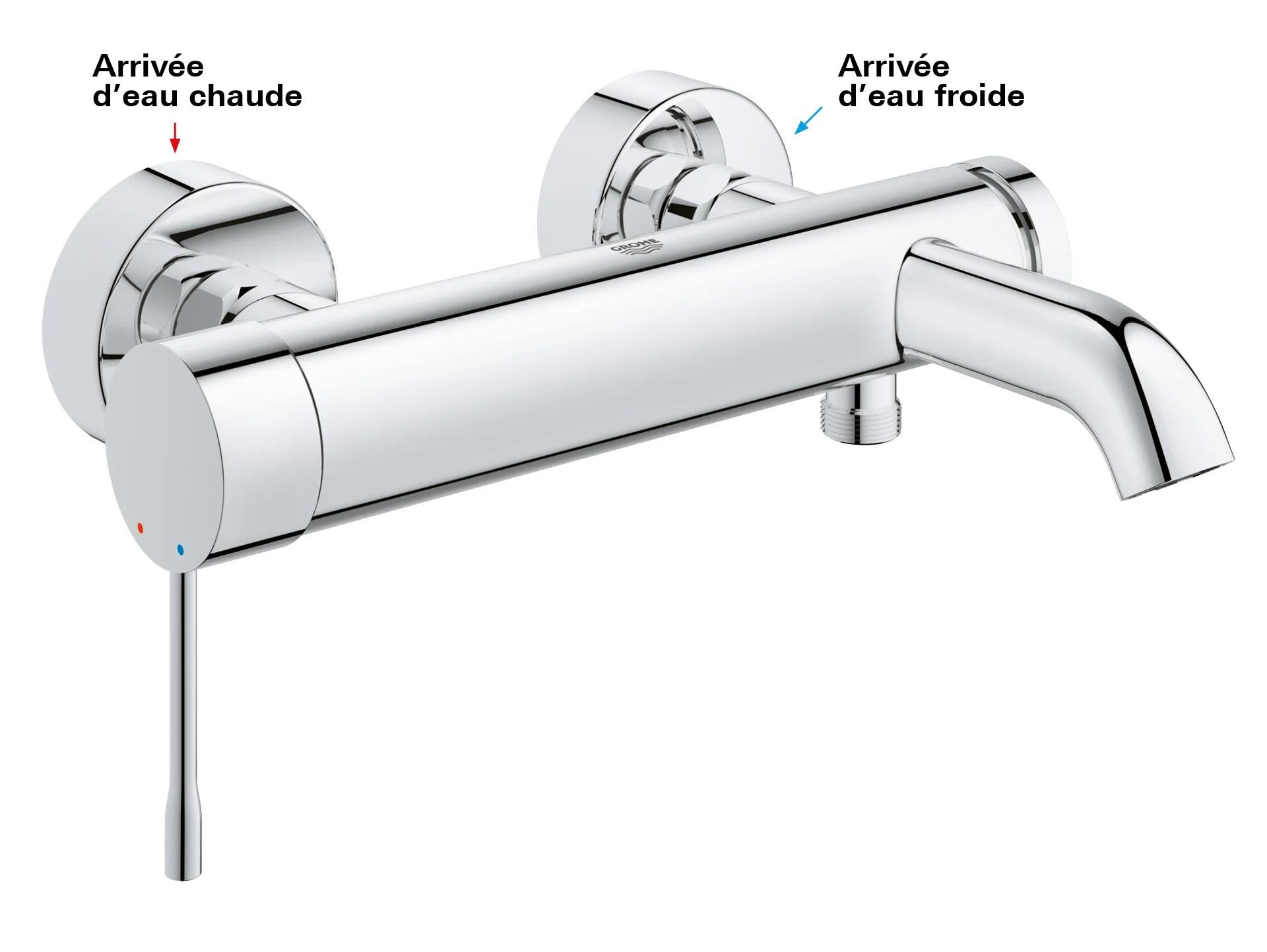 mitigeur mecanique de baignoire chrome brillant grohe essence