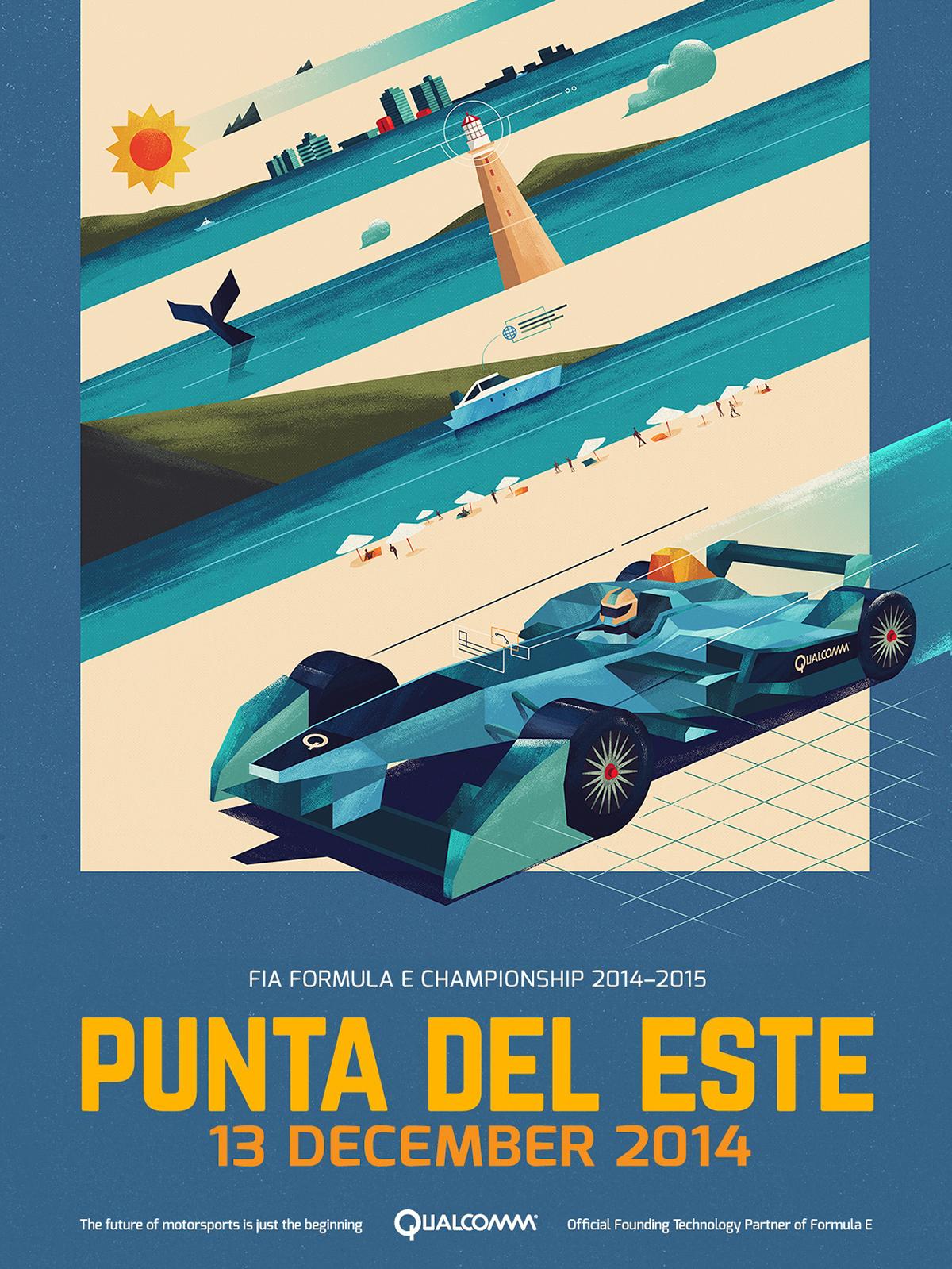 Punta Del Este Formula E Championship Poster by Dan Matutina