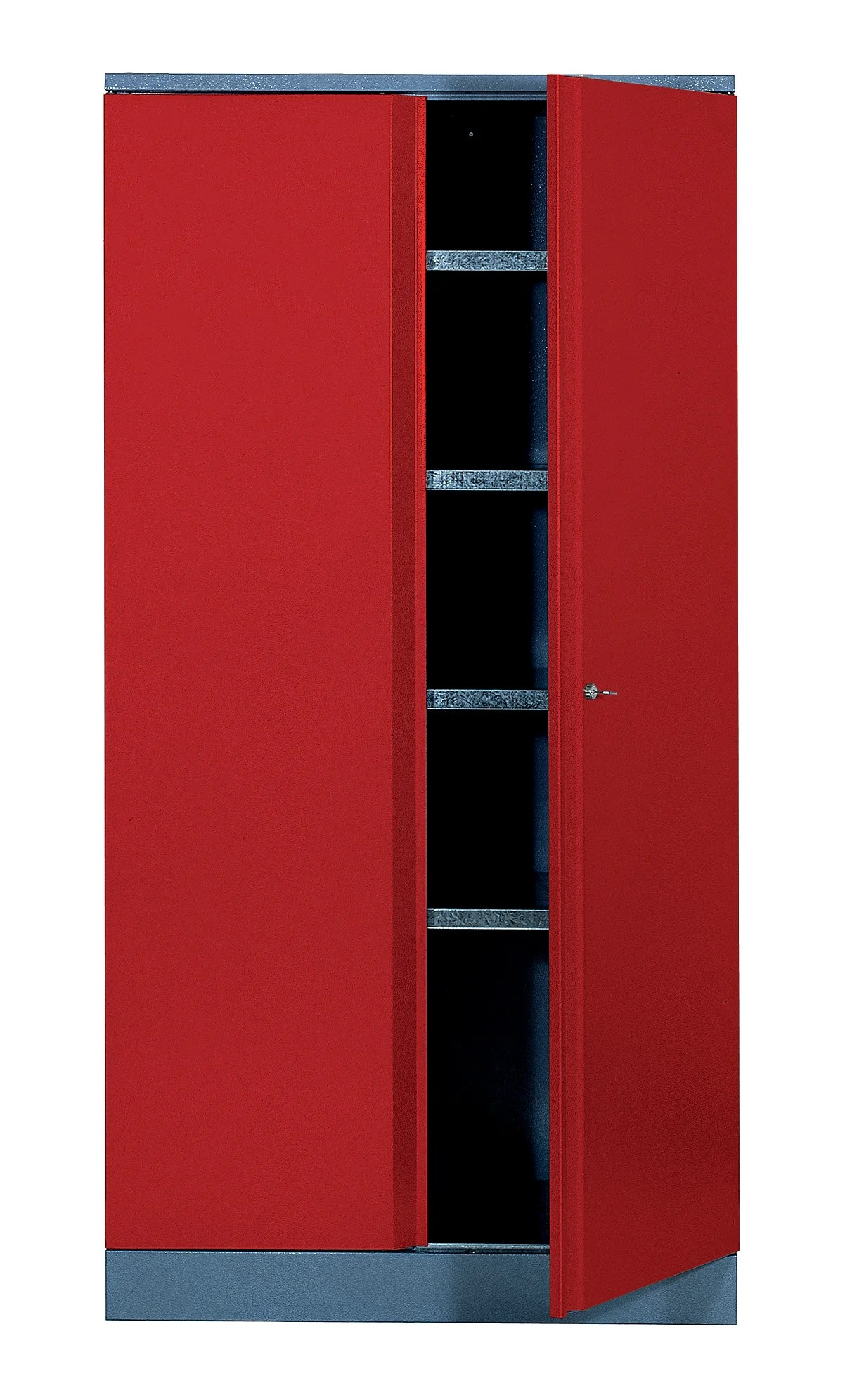 armoire de rangement en metal rouge