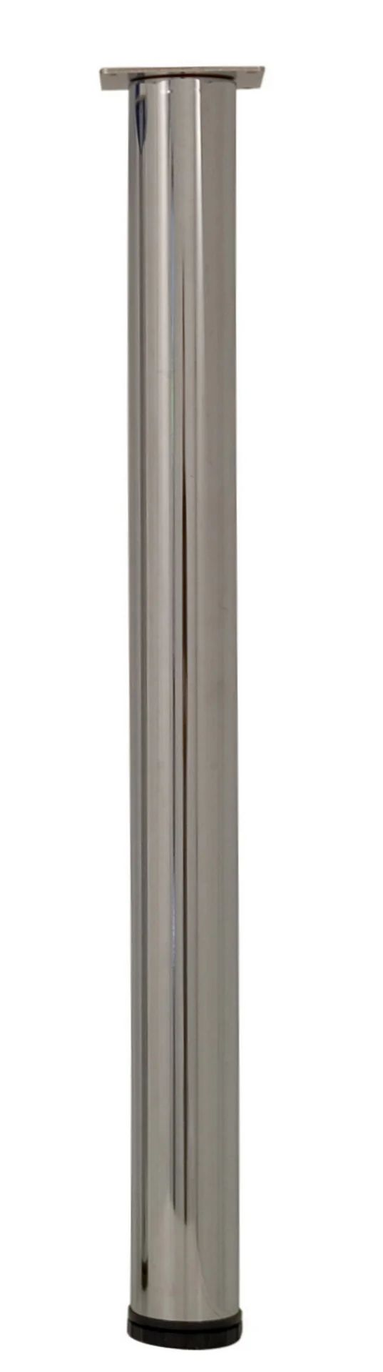 Pied De Table Cylindrique Reglable Acier Chrome Gris De 70 A 73 Cm Leroy Merlin