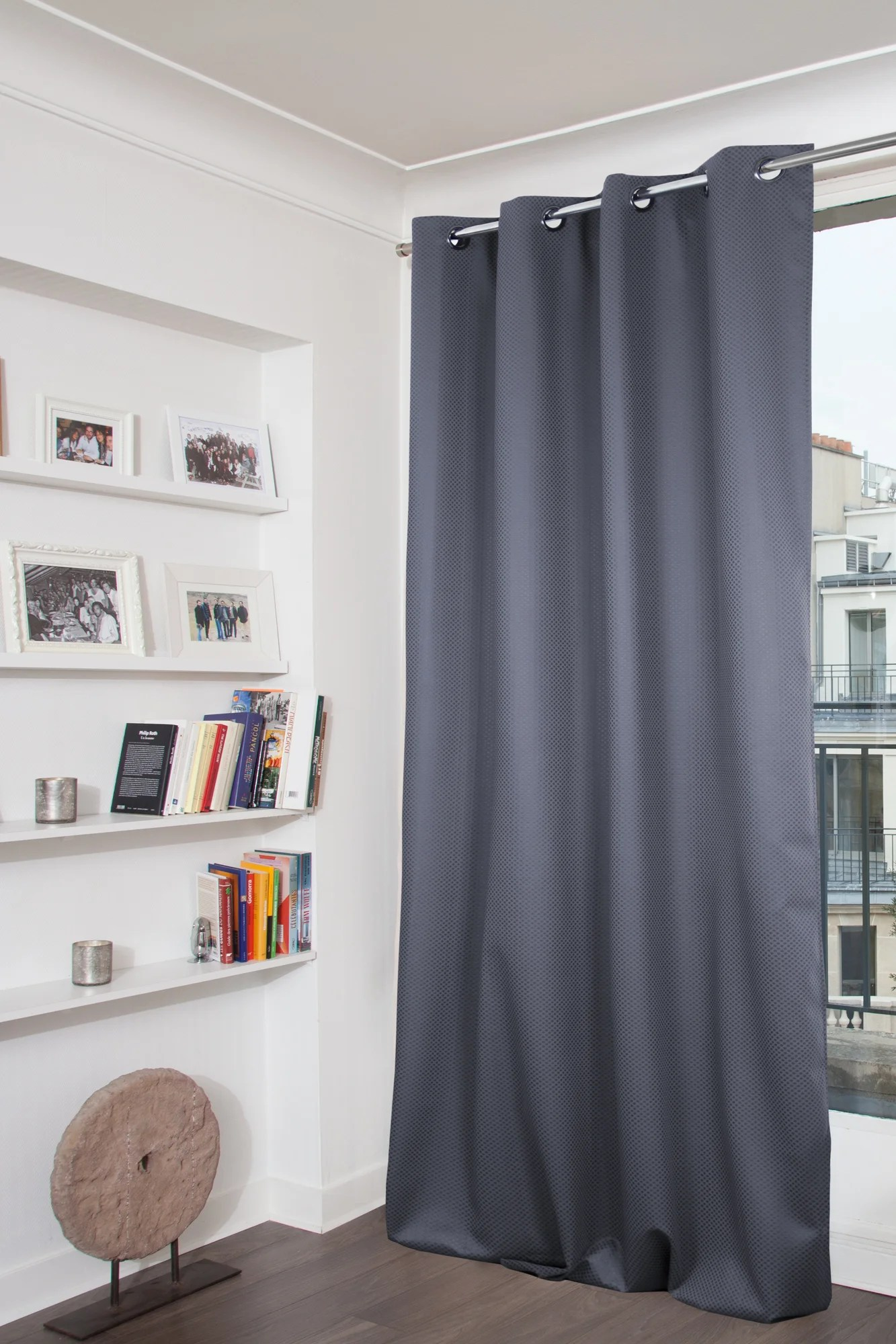 rideau occultant paillette gris fonce l 140 x h 260 cm moondream