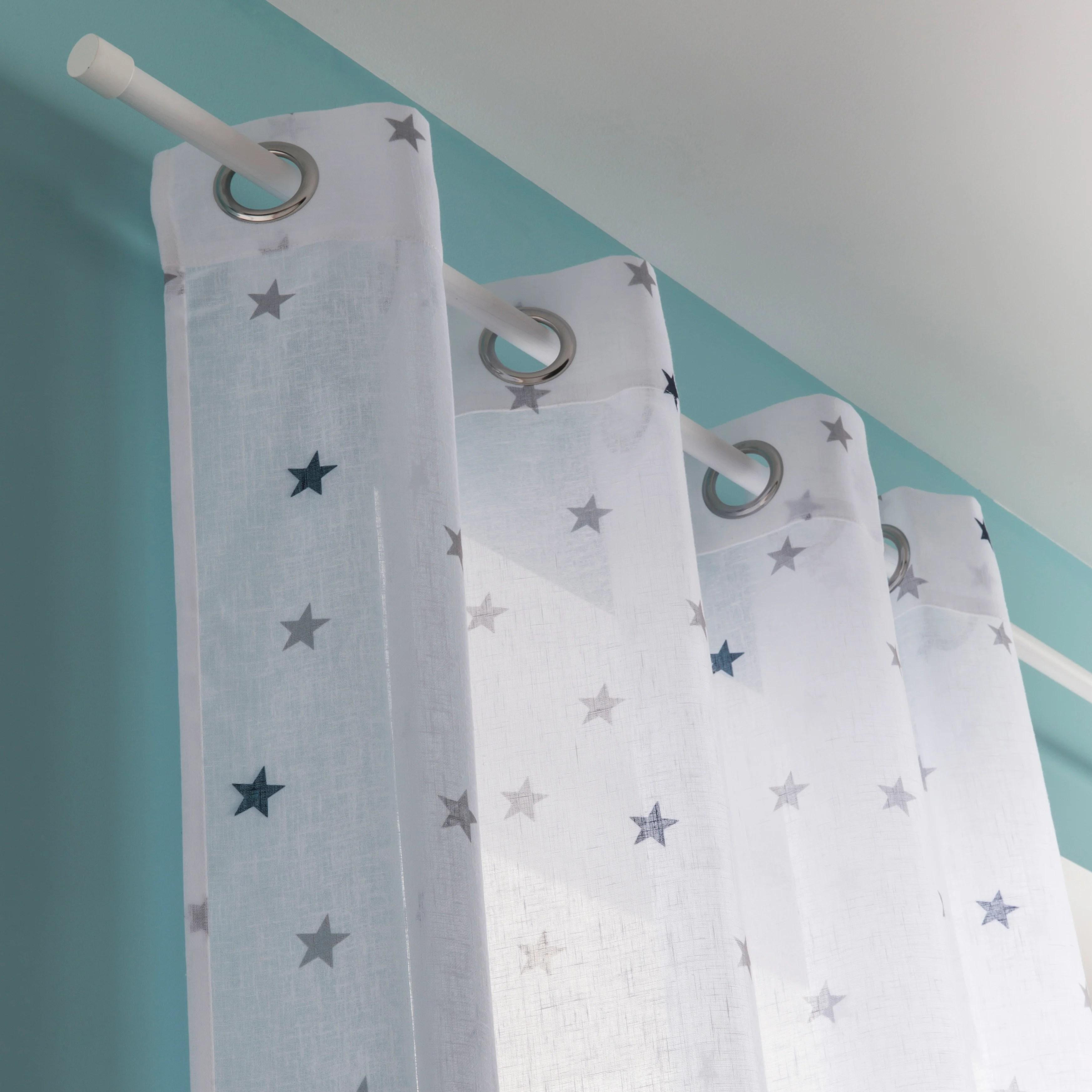 voilage tamisant stars bleu et blanc l 135 x h 260 cm