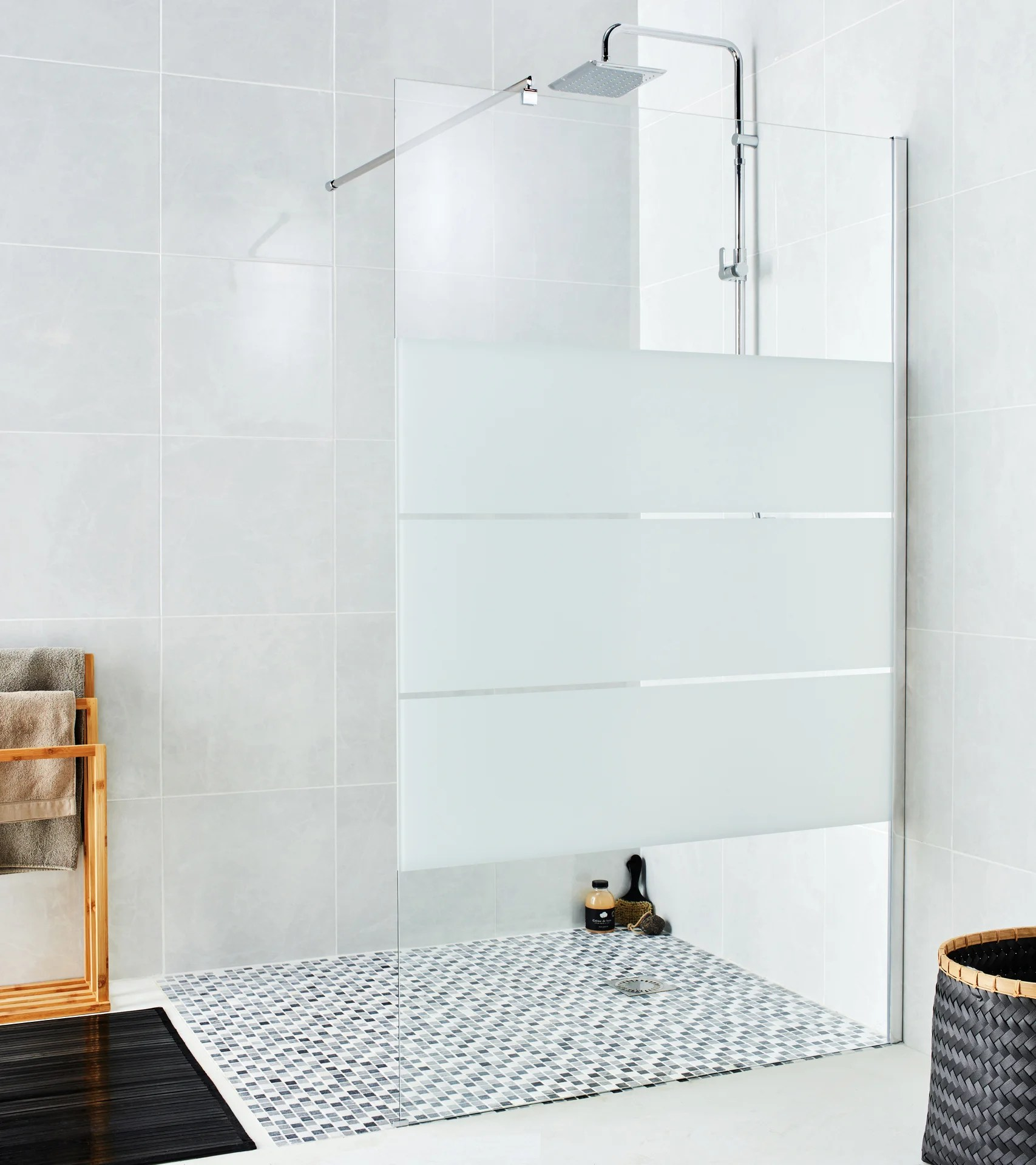 paroi de douche a l italienne verre serigraphie l 120 cm ep 6 mm chrome easy