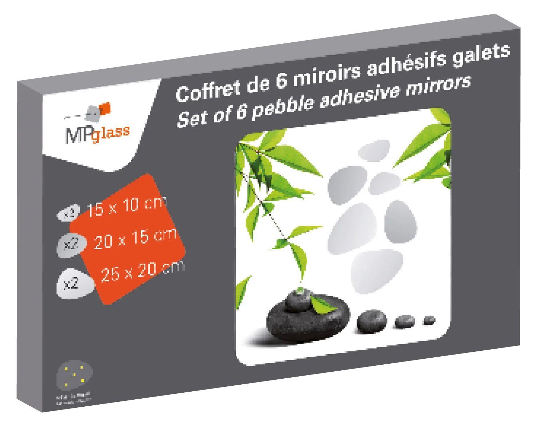 Coffret De 6 Miroirs Non Lumineux Adhesifs Deco L 45 X L 28 Cm Galets Leroy Merlin