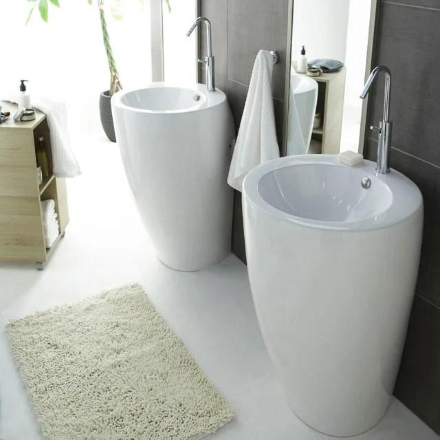 lavabo colonne en ceramique blanc icone