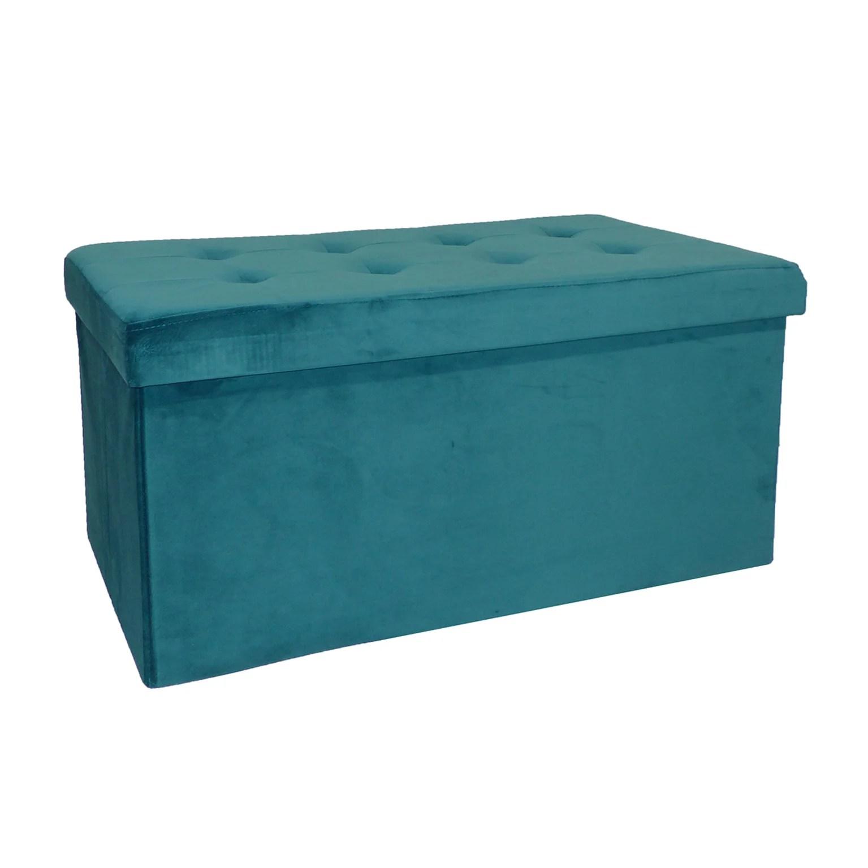 bleu banc pliable velours 76 x