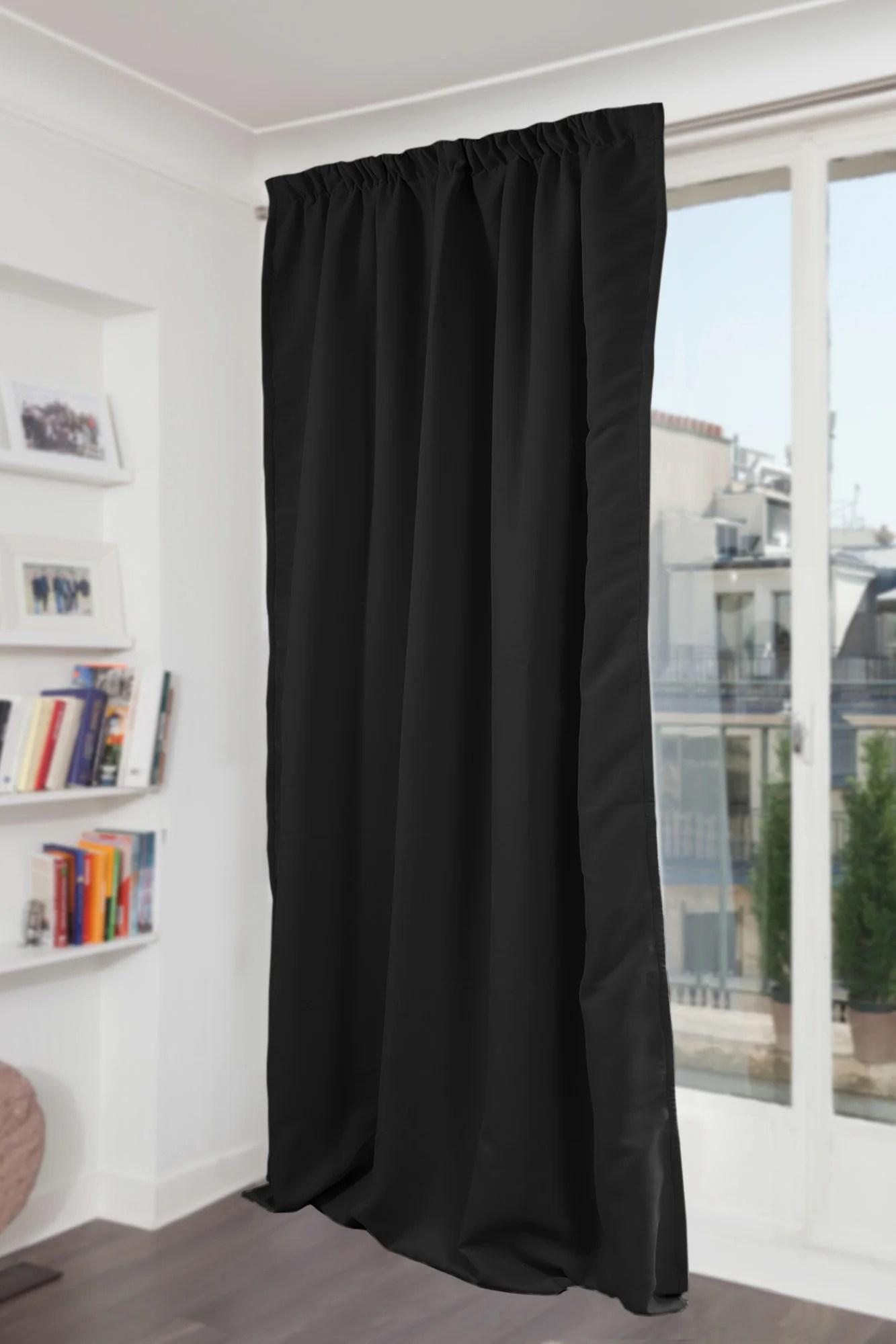 rideau occultant thermique et phonique noir l 145 x h 260 cm moondream