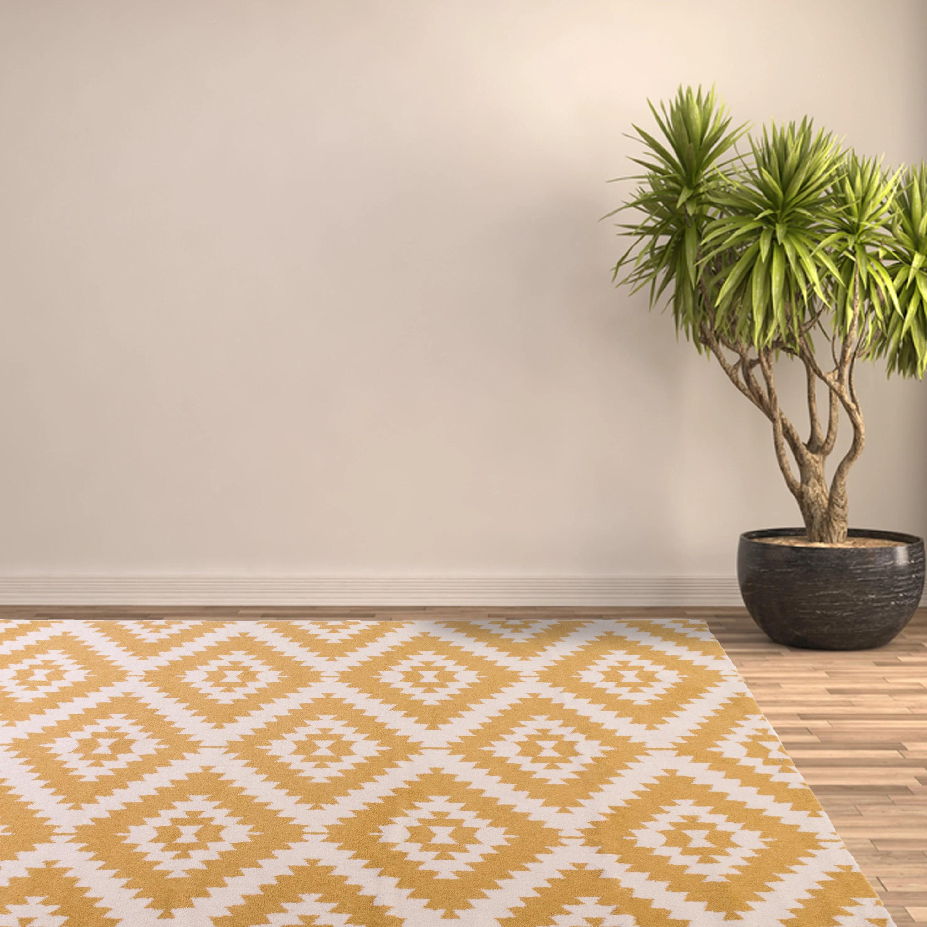 tapis jaune rectangulaire l 150 x l 200 cm ikat