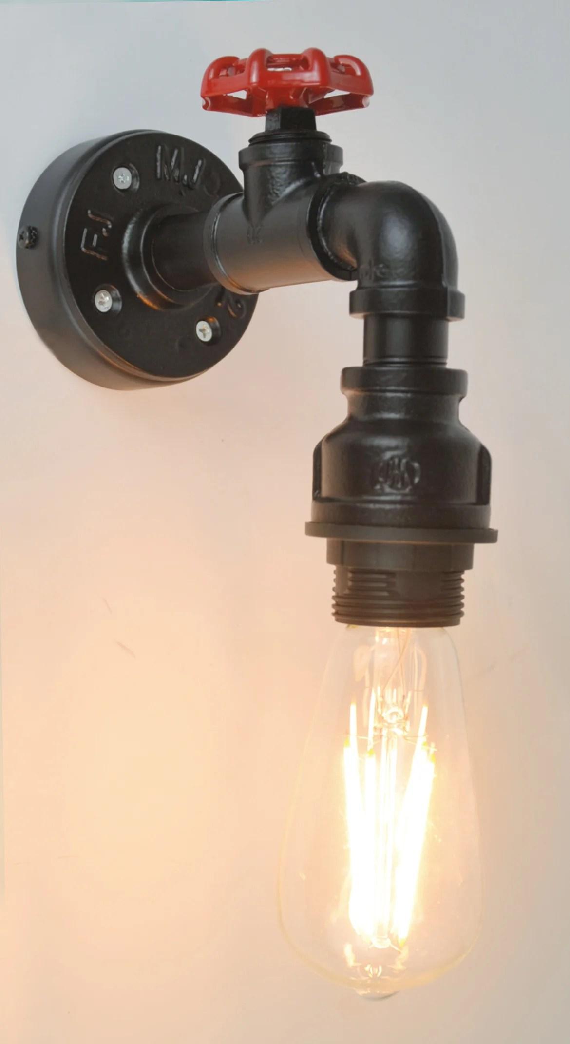 Applique Industriel Metal Noir Rouge Sampa Helios Robin 1 Lumiere S Leroy Merlin