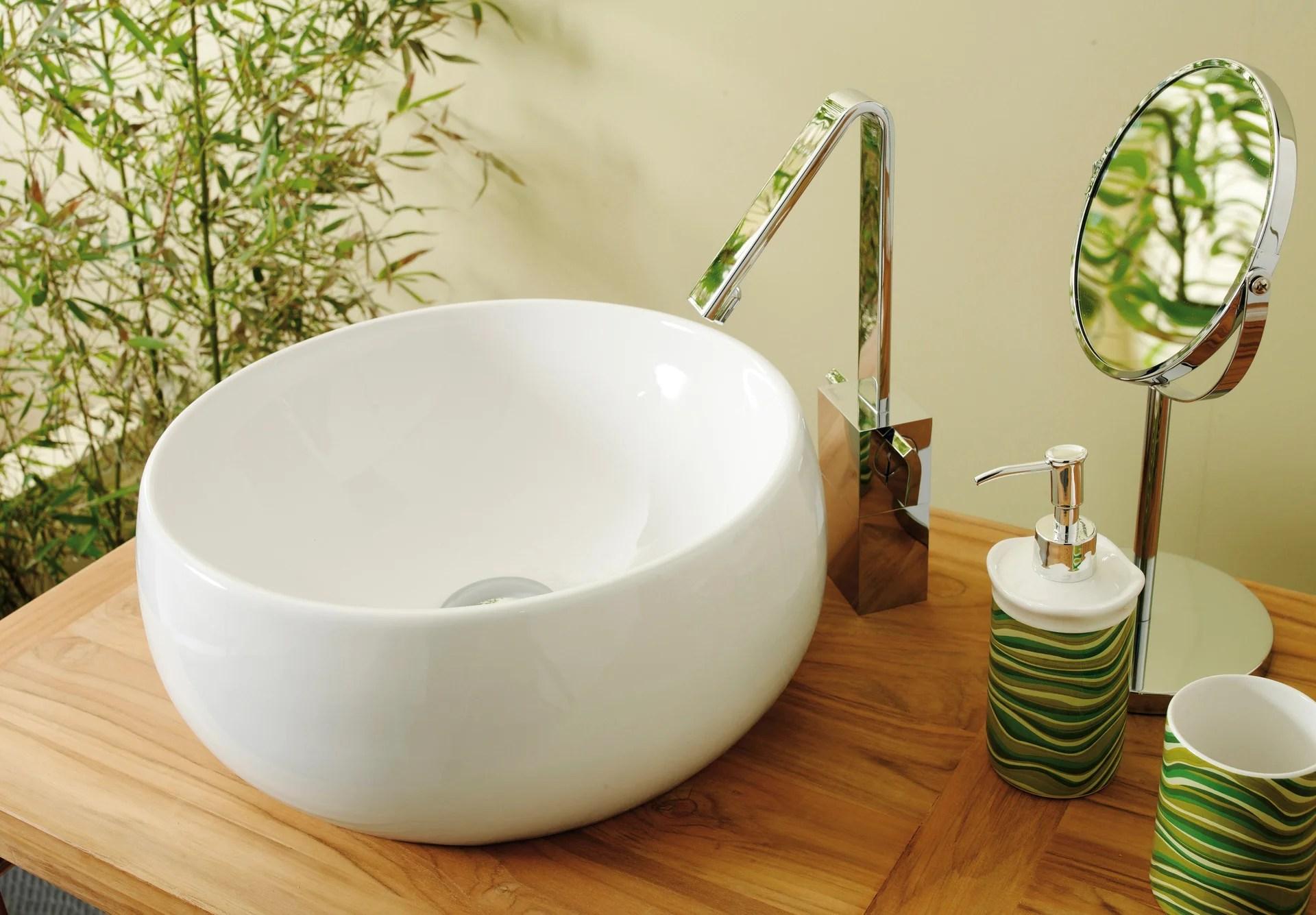 Vasque A Poser Ceramique Diam 38 Cm Blanc Lune Leroy Merlin